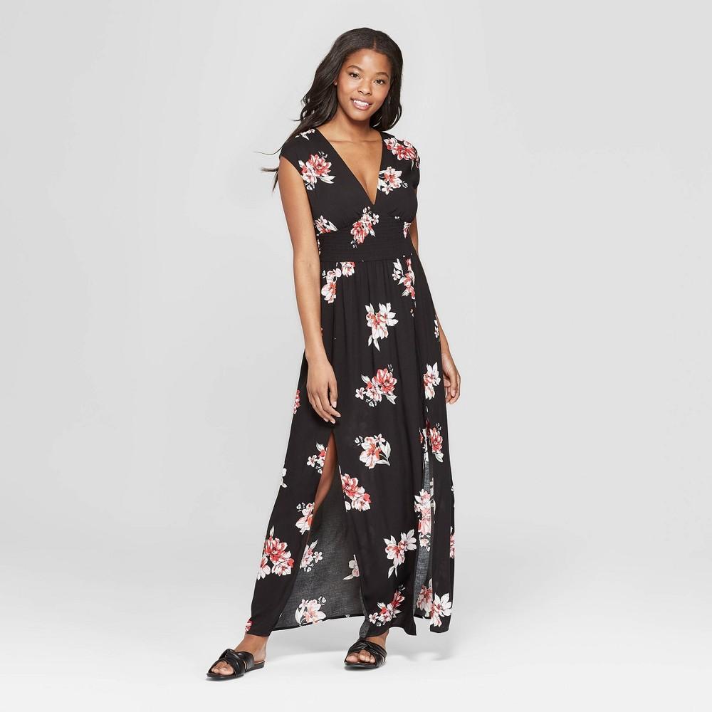 Women's Floral Print Sleeveless V-Neck Smocked Waist Maxi Dress - Xhilaration Navy Base L