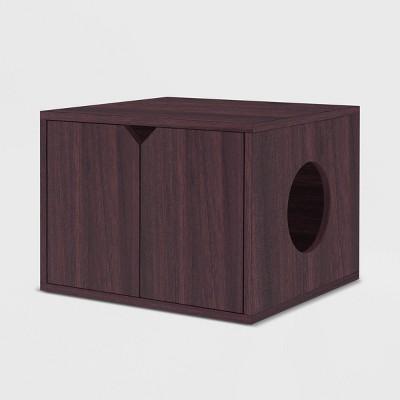 Way Basics Eco Modern Cat Litter Box Enclosure with Side Hole - Espresso Wood Grain