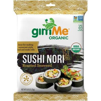 Gimme Organic Roasted Seaweed Sushi Nori Wraps - 0.81oz