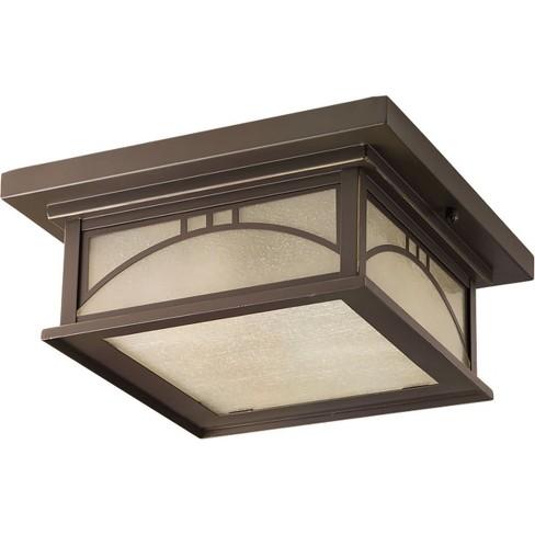 Progress Lighting P6055 Residence Outdoor Ceiling Fixture With 2 Lights 12 Wide Antique Bronze