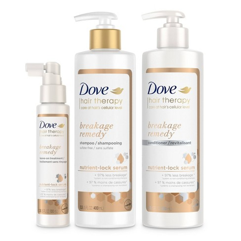 Dove Hair Therapy Breakage Remedy Shampoo + Conditioner + Leave-On Treatment - 3ct/30.38 fl oz - image 1 of 4