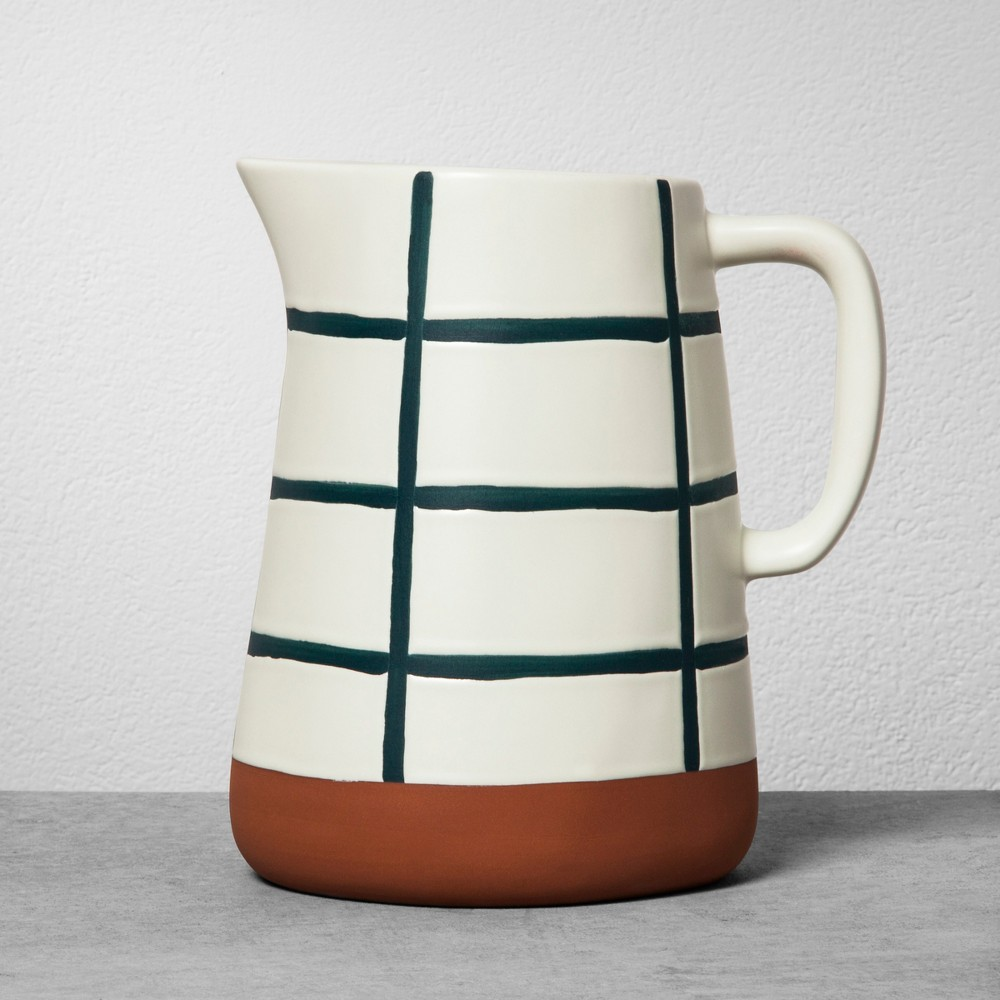 Stoneware Pitcher - Blue Grid - Hearth & Hand with Magnolia