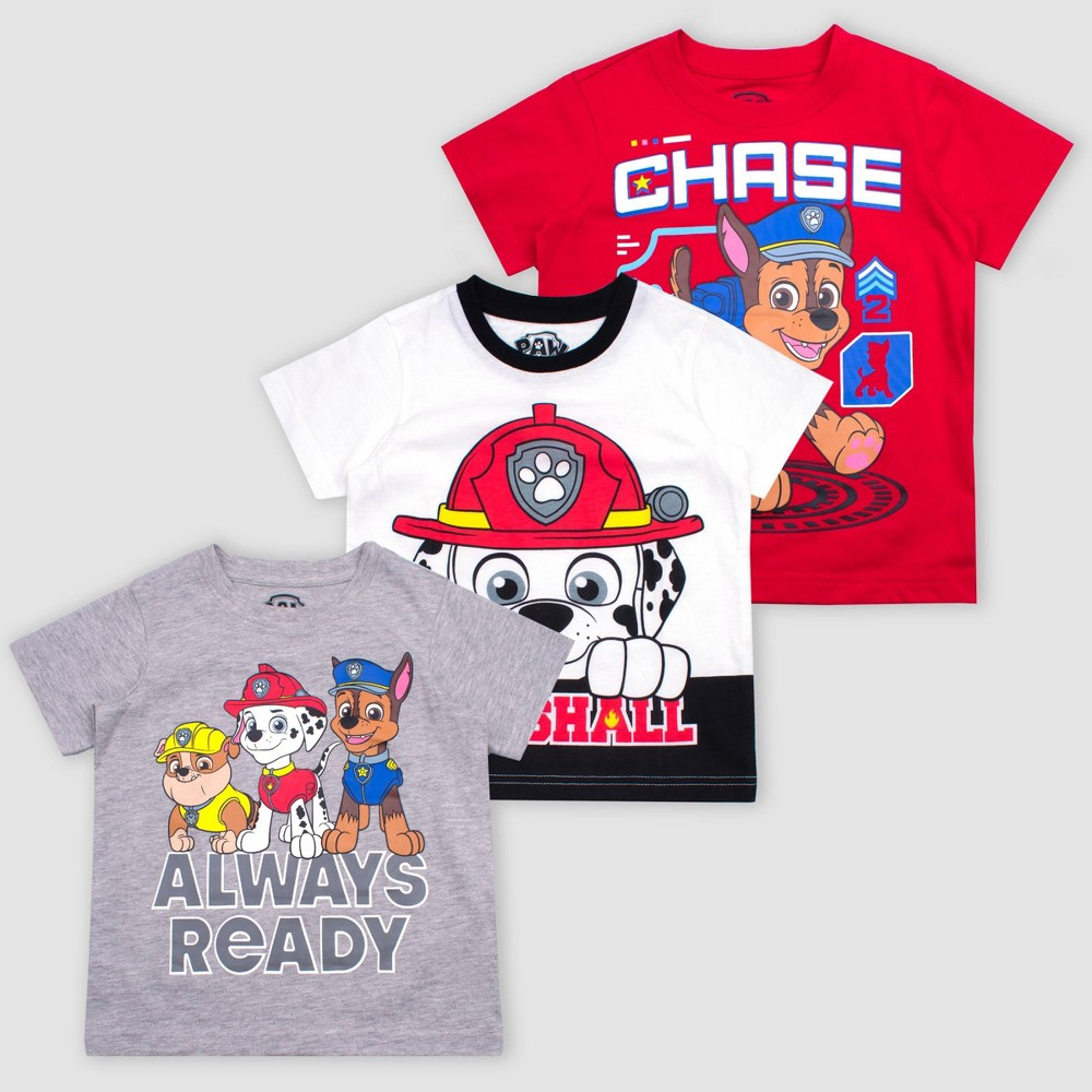 Toddler Boys' Nickelodeon Paw Patrol 3pk Short Sleeve T-Shirts - Gray/White/Red 2T, Multicolored