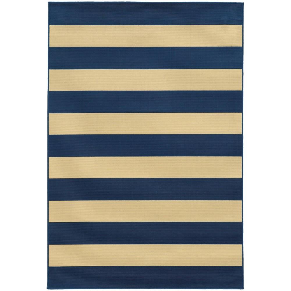 Rio Striped Patio Rug Blue/Ivory