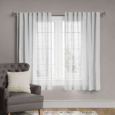 "63""x54"" Linen Light Filtering Curtain Panel White - Threshold™"