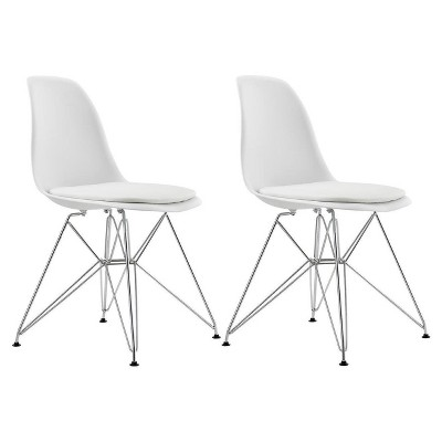 Mid Century Modern Molded Chair With Upholstered Seat (Set Of 2)   White    Dorel Home Products : Target
