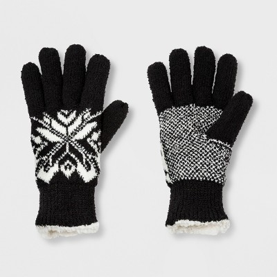 Isotoner Women's Recycled Yarn Fleece Lined Gloves with White Snowflake - Black