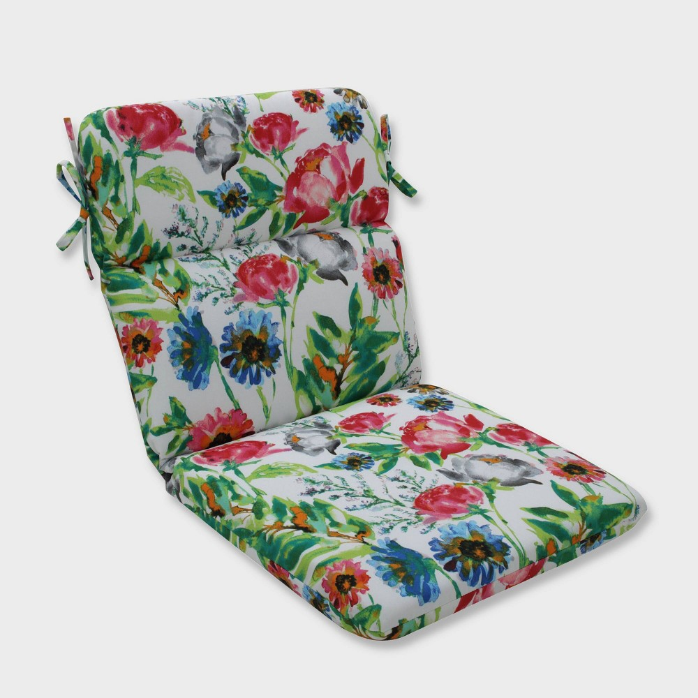 Flower Mania Petunia Rounded Corners Outdoor Chair Cushion Pink - Pillow Perfect