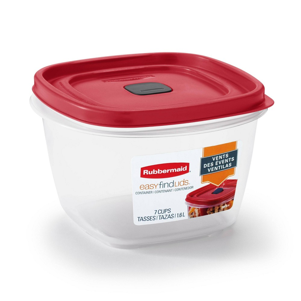 Image of Rubbermaid 7 Cup Plastic Food Storage Container Red
