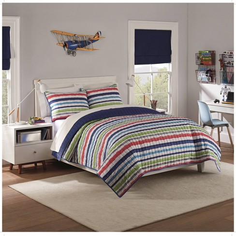 2pc Twin Froot Loops Striped Quilt Set Navy - Waverly Kids - image 1 of 2