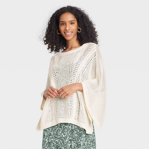 Women's Knit Pullover - A New Day™ Cream - image 1 of 2