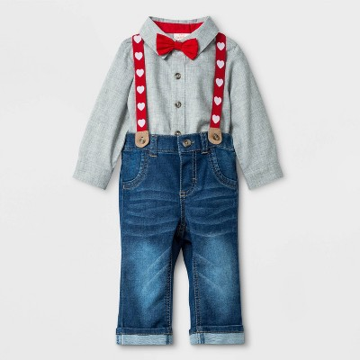 Baby Boys' Valentine's Day Denim Suspender Set - Cat & Jack™ Gray/Blue Newborn