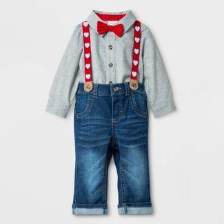 Baby Boys' Valentine's Day Denim Suspender Set - Cat & Jack™ Gray/Blue Newborn