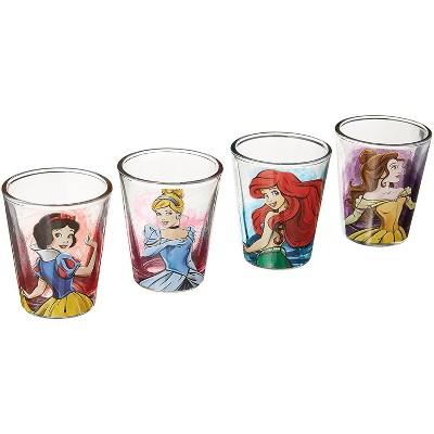 Silver Buffalo Disney Fashionista Princesses 4 Piece Mini Glass Set