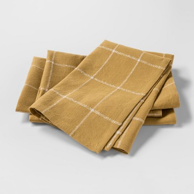 4pk Plaid Napkin Gold - Threshold™