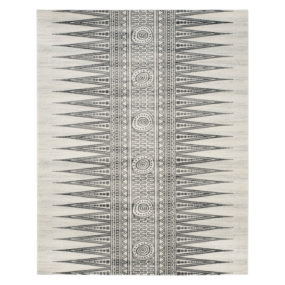 Tribal Design Loomed Area Rug Ivory/Gray