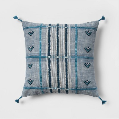 Embroidered Global Plaid Square Throw Pillow Blue - Opalhouse™
