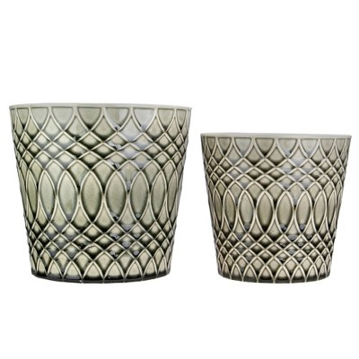 """Napa Home & Garden Set of 2 Black and Gray Geometric Patterned Planters 6.5"""""""