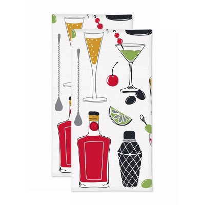 2pk Cocktail Print Kitchen Towel - MU Kitchen