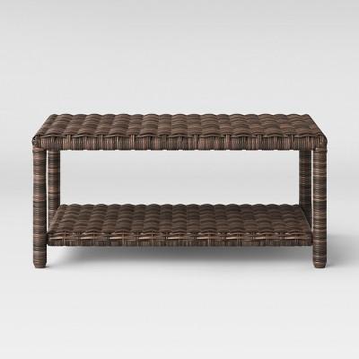 Monroe Wicker Patio Coffee Table Brown   Threshold™