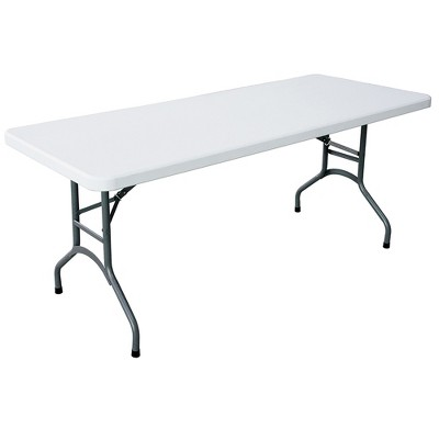 Plastic Development Group 706 Outdoor/Indoor Heavy Duty Dining Group 6 Foot Straight Folding Banquet Table, White