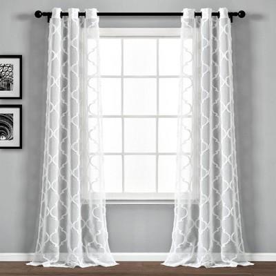 "Set of 2 38""x84"" Avon Trellis Grommet Sheer Window Curtain Panels - Lush Décor"