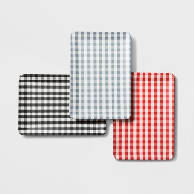 Gingham Check Rectangular Serving Tray Set of 3 - Black/Blue/Red - Hearth & Hand™ with Magnolia