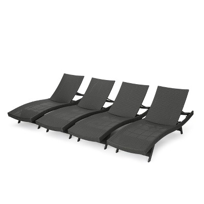Salem 4pk Wicker Adjustable Chaise Lounge - Gray - Christopher Knight Home