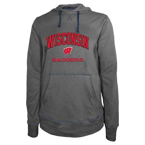 NCAA Wisconsin Badgers Men's Lightweight Hooded Sweatshirt - S - image 1 of 1