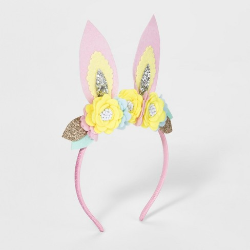 Toddler Girls' Floral Bunny Ears Headband - Cat & Jack™ Pink - image 1 of 1