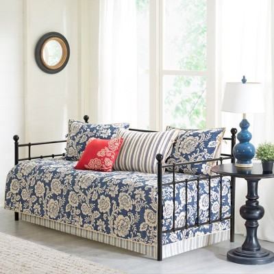 Navy Rose Cotton Twill Reversible Daybed Set 6pc