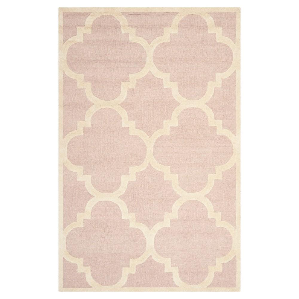 5 39 X8 39 Landon Texture Wool Rug Light Pink Ivory Safavieh