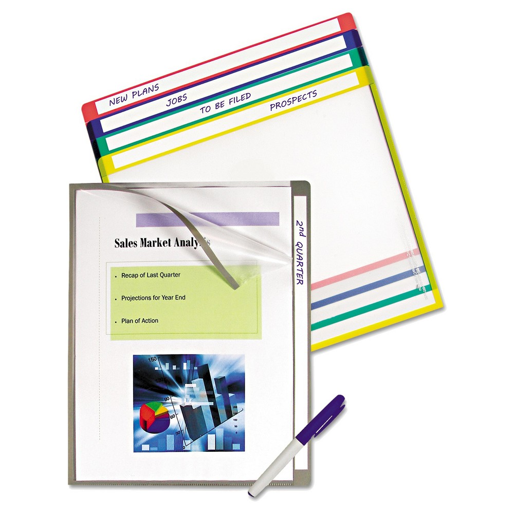 C-Line Write-On Project Folders, Letter, Assorted Colors, 10/PK, Blue/Green/Red/Grey