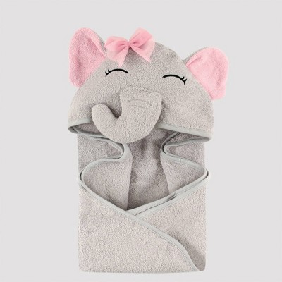 Hudson Baby Pretty Elephant Hooded Towel - Gray 33x33''