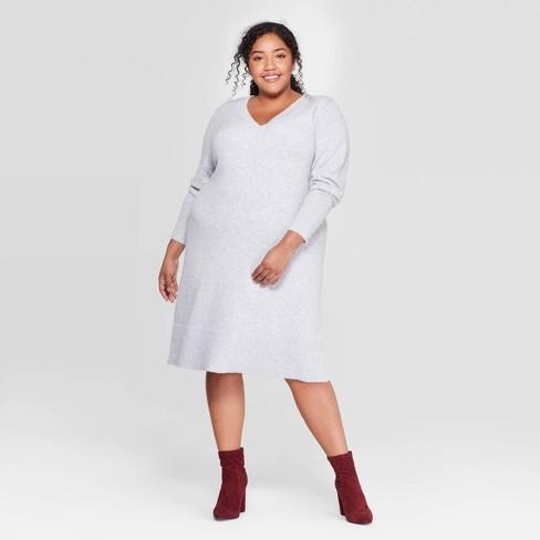 Women\'s Plus Size Long Sleeve V-Neck Sweater Dress - Ava & Viv™