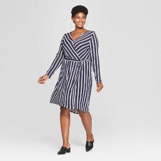 Women's Plus Size Striped Wrap Dress - Ava & Viv™ Navy/White