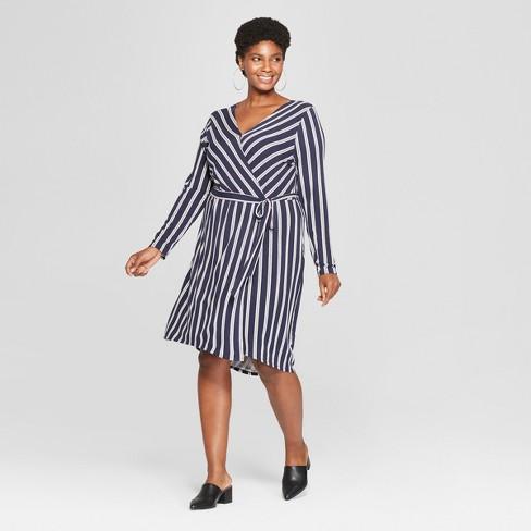 319ae93f4f6 Women s Plus Size Striped Wrap Dress - Ava   Viv™ Navy White   Target