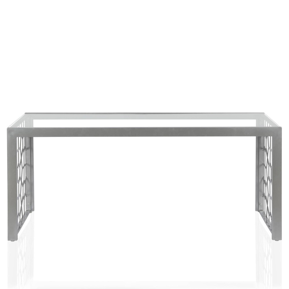 Image of Juliette Glass Top Coffee Table Tempered Glass Silver - Cosmoliving By Cosmopolitan