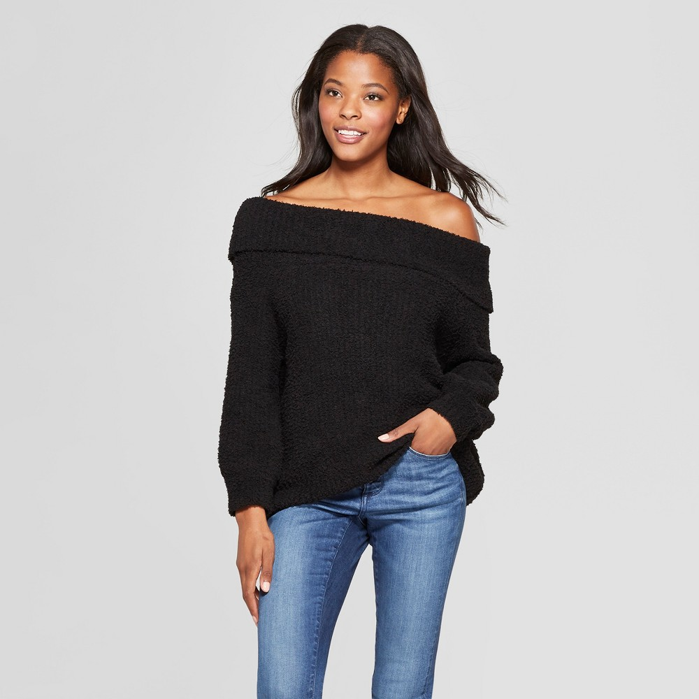 Women's 3/4 Sleeve Off the Shoulder Pullover Sweater - Love @ First Sight (Juniors') Black L