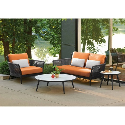 4pc Nette Loveseat Club Chair and Tables Set with Pillows Black/Orange/Gray - Oxford Garden - image 1 of 2