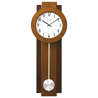 Bulova Clocks C3383 Avent 23 Inch 2 Tone Walnut and Mahogany Pendulum Wall Clock