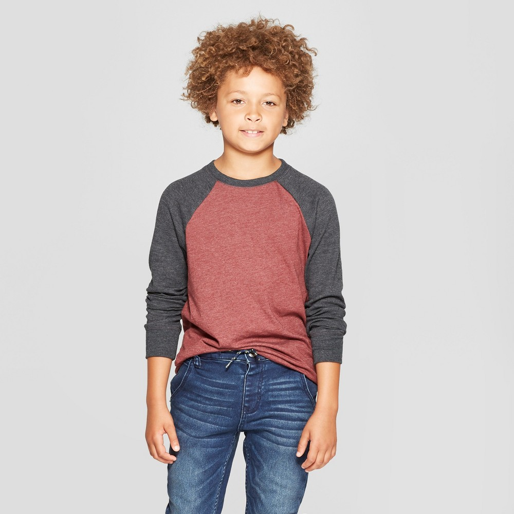 Boys' Thermal Long Sleeve T-Shirt - Cat & Jack Red Heather XS