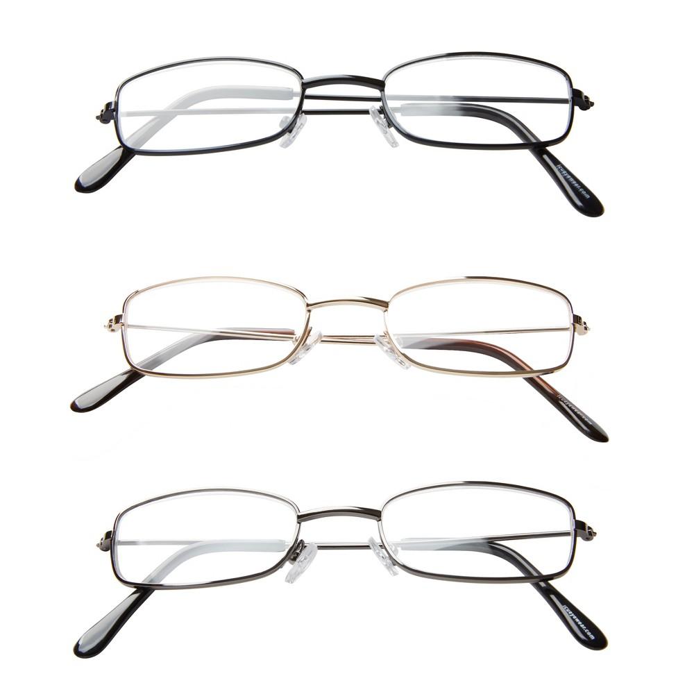 ICU 3-Pack Metal Reading Glasses - +3.00, Grey