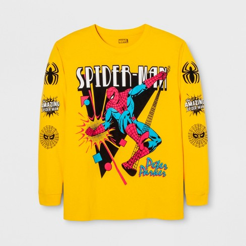 Men's Long Sleeve Marvel Spider-Man Crew T-Shirt - Yellow - image 1 of 1