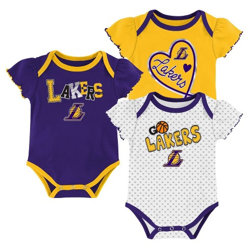 NBA Los Angeles Lakers Girls' Draft Pick Body Suit Set 3pk - image 1 of 4