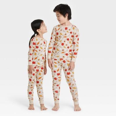 Kids' Fall Leaf Print Matching Family Pajama Set - Oatmeal