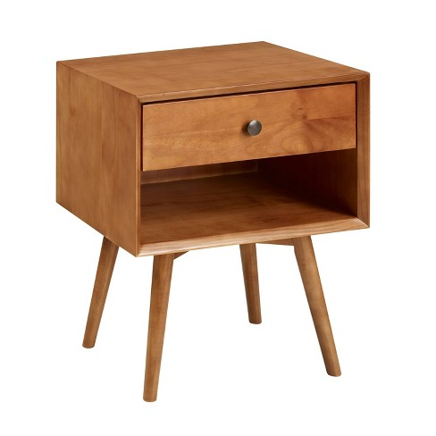 Mid-Century 1 Drawer Solid Wood Nightstand  - Saracina Home  - image 1 of 4