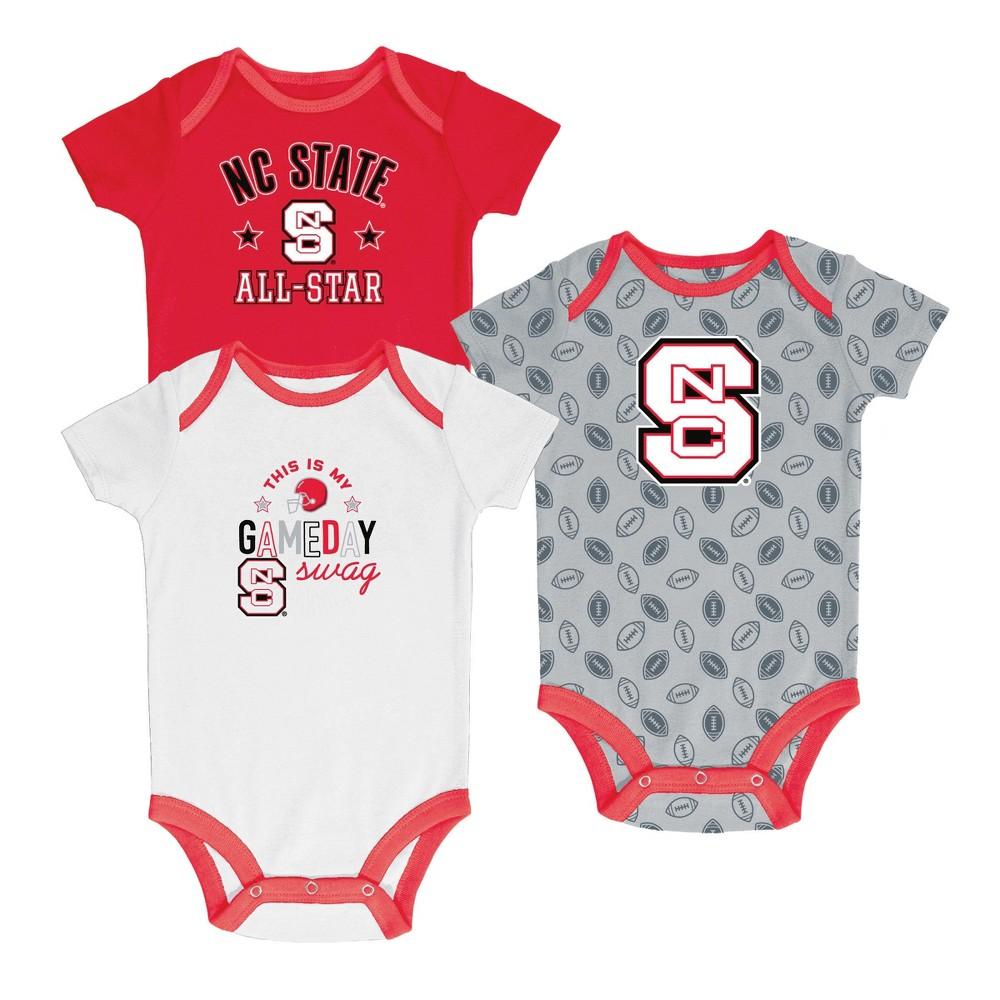 NC State Wolfpack Baby Boy Short Sleeve 3pk Bodysuit 6-9M, Multicolored