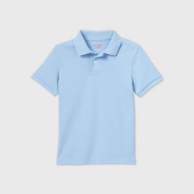 Boys' Short Sleeve Interlock Uniform Polo Shirt - Cat & Jack™ Light Blue
