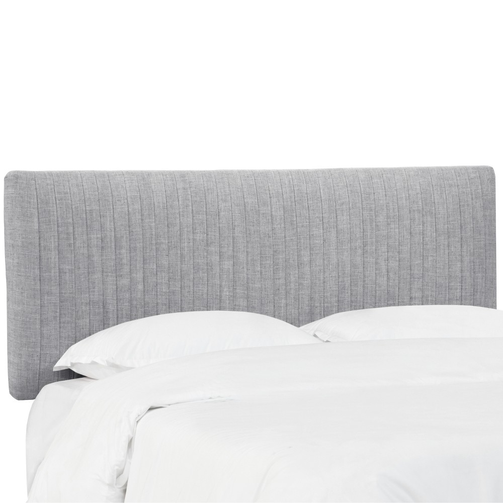 King Skylar Upholstered Pleated Headboard Pumice Gray Velvet - Cloth & Co., Pumice Gray Linen